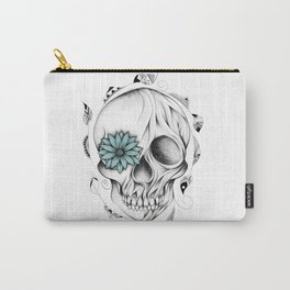 Poetic Wooden Skull Carry-All Pouch