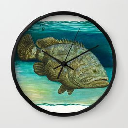 """""""Goliath Grouper"""" by Amber Marine ~ Watercolor Painting, (Copyright 2015) Wall Clock"""