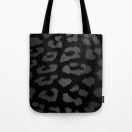 Black & Gray Metallic Leopard Print Tote Bag
