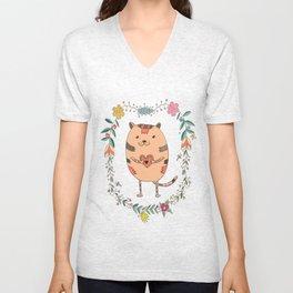 Cute lovely cat Unisex V-Neck