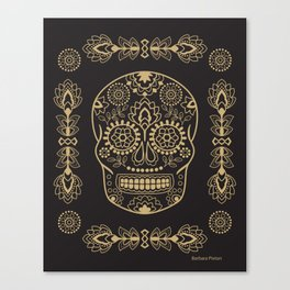 Mexican Sugar Skulls Gold on Black Canvas Print