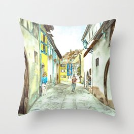 French Street Scene Throw Pillow