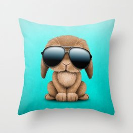 Cute Baby Bunny Wearing Sunglasses Throw Pillow