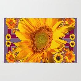 Awesome Patterned Golden Sunflower Art Rug