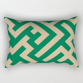 Tan Brown and Cadmium Green Diagonal Labyrinth Rectangular Pillow