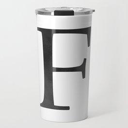 Letter F Initial Monogram Black and White Travel Mug