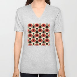 Geometric Pattern #66 (red hexagons) Unisex V-Neck