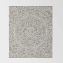Mandala - Taupe Throw Blanket