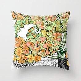 Romance in Paris, Art Nouveau Floral Nostalgia Throw Pillow