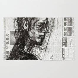 Waiting - Charcoal on Newspaper Figure Drawing Rug