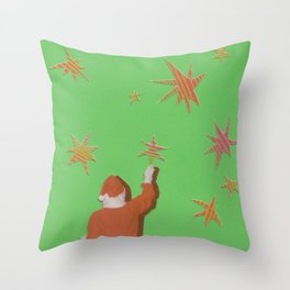 Santa and the Stars Throw Pillow