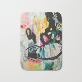 Sweet Layered Thoughts Mixed Media Contemporary Abstract Art Bath Mat