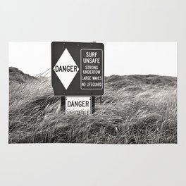 """Surf Unsafe, Strong Undertow"" Beach Access Sign Washington Coast, Pacific Northwest Rug"