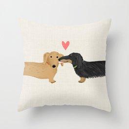 Dachshunds Love Throw Pillow