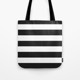 Eerie black - solid color - white stripes pattern Tote Bag