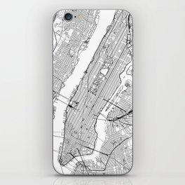 New York City White Map iPhone Skin