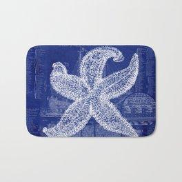 Vintage Starfish Blueprint Bath Mat