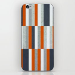 Orange, Navy Blue, Gray / Grey Stripes, Abstract Nautical Maritime Design by iPhone Skin