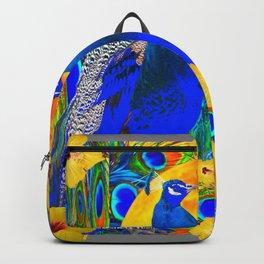 YELLOW HIBISCUS & BLUE PEACOCKS GREY ART Backpack