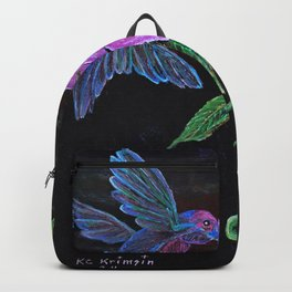 """Blue Hummingbird"" by KC Krimsin Backpack"