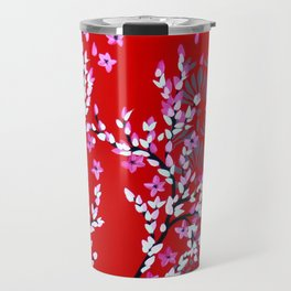Red and Pink Cherry Blossom Travel Mug
