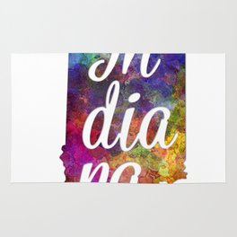 Indiana US State in watercolor text cut out Rug