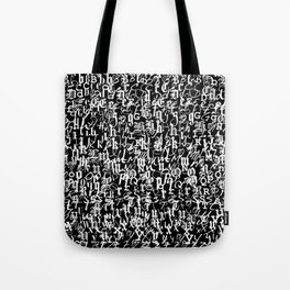 alphabet letters black and white - typography font  pattern Tote Bag