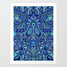 Paisley Blue Art Print