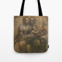 The Virgin and Child with St Anne and St John the Baptist by Leonardo da Vinci Tote Bag