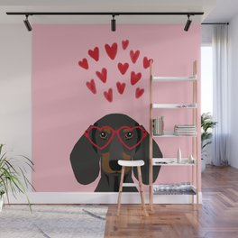 Dachshund dog breed pet art valentines day doxie must haves Wall Mural