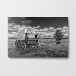 Prairie Schooner Covered Wagon in the Grand Tetons in Black and White Metal Print