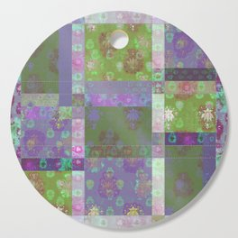 Lotus flower purple and lime green stitched patchwork - woodblock print style pattern Cutting Board