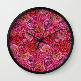 Valentines red Roses // pink & red Ranunculous floral Wall Clock