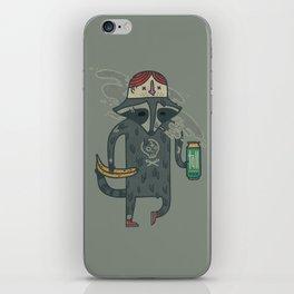 "Raccoon wearing human ""hat"" iPhone Skin"
