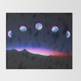 Trippy Moon Phases in the Night Sky Throw Blanket