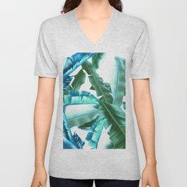 tropical banana leaves pattern turquoise Unisex V-Neck