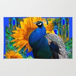 #2 BLUE PEACOCK &  SUNFLOWERS BLUE MODERN ART Rug