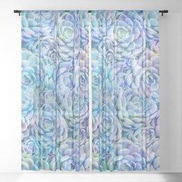 Rainbow succulents Sheer Curtain