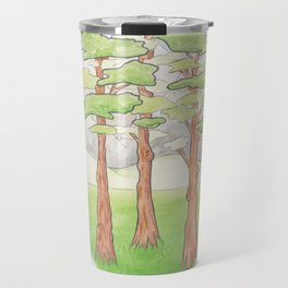 Haruki Murakami's Norwegian Wood // Illustration of a Forest and Mountains in Pencil Travel Mug