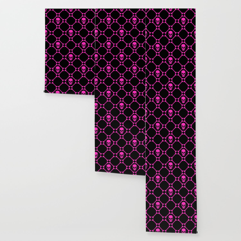Skulls And Bones Hot Pink On Black Wallpaper By Mariamahar Society6