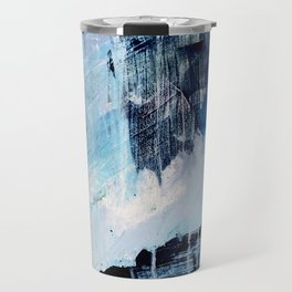 Vibes: an abstract mixed media piece in blues and pinks by Alyssa Hamilton Art Travel Mug