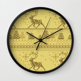 Christmas knitted pattern Wall Clock