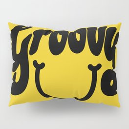 Groovy Smile // Black Smiley Face Fun Retro 70s Hippie Vibes Mustard Yellow Lettering Typography Art Pillow Sham