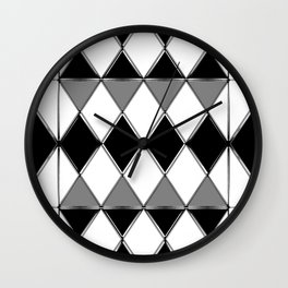 Shiny diamonds in black and white. Geometric abstract. Wall Clock