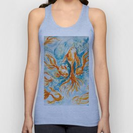 Sparkly Gold Goldfish watercolor by CheyAnne Sexton Unisex Tank Top