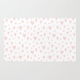 Blush pink white handdrawn watercolor romantic hearts pattern Rug