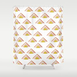 Pink and Yellow Boho Triangles Shower Curtain