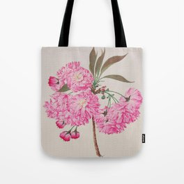 Barrier Mountain Cherry Blossoms Watercolor Tote Bag