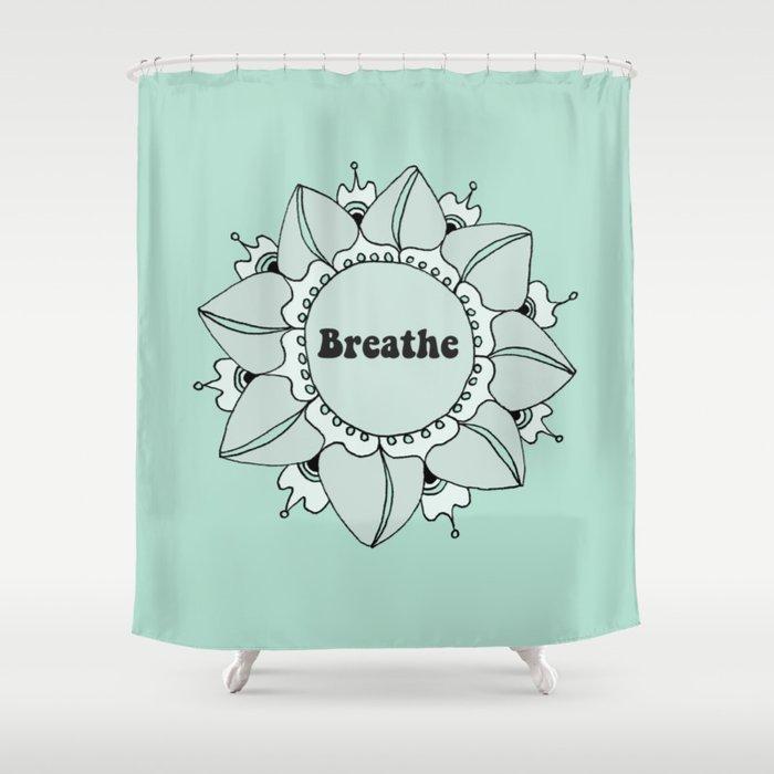 Breathe Yoga Boho Mandala Light Blue Green Shower Curtain by ...