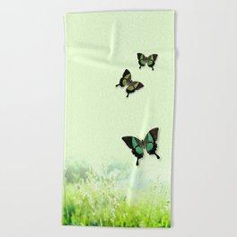 Green Butterfly, Wildflower Meadow, Summer Field Beach Towel